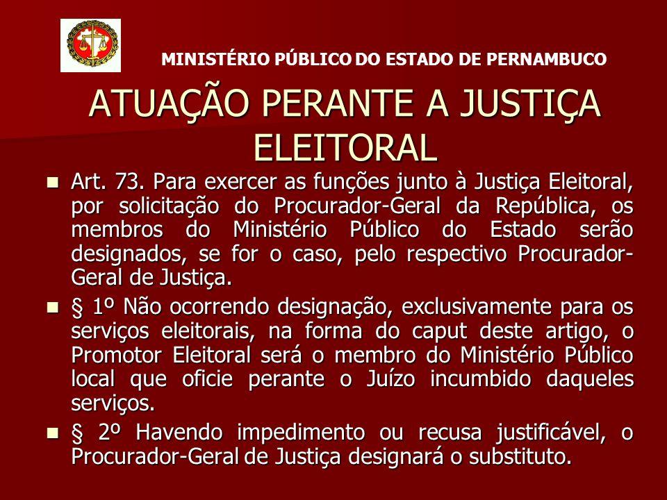 ATUAÇÃO PERANTE A JUSTIÇA ELEITORAL Art. 73.