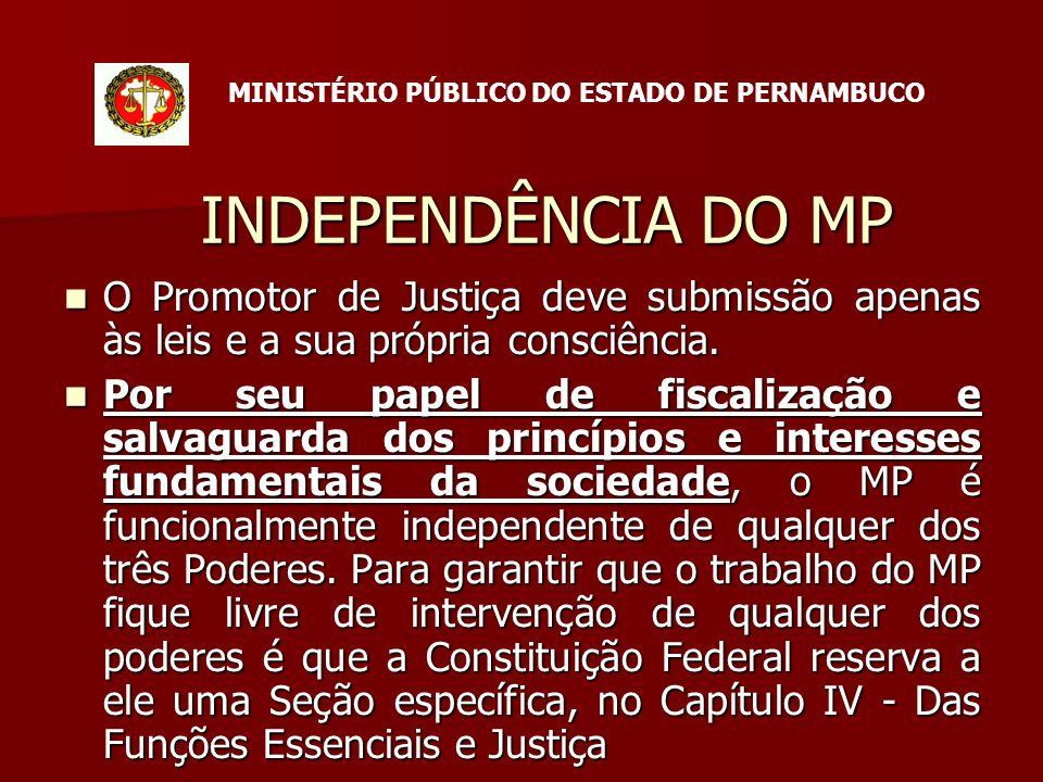INDEPENDÊNCIA DO MP O Promotor de Justiça deve submissão apenas às leis e a sua própria consciência.