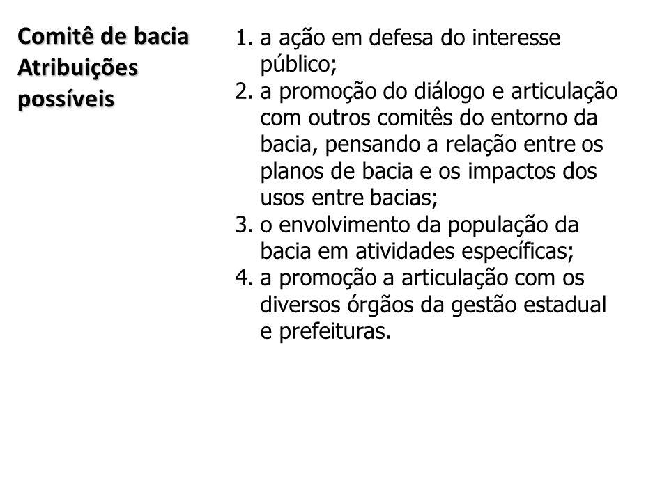 Comitê de bacia Atribuições possíveis 1.a ação em defesa do interesse público; 2.a promoção do diálogo e articulação com outros comitês do entorno da