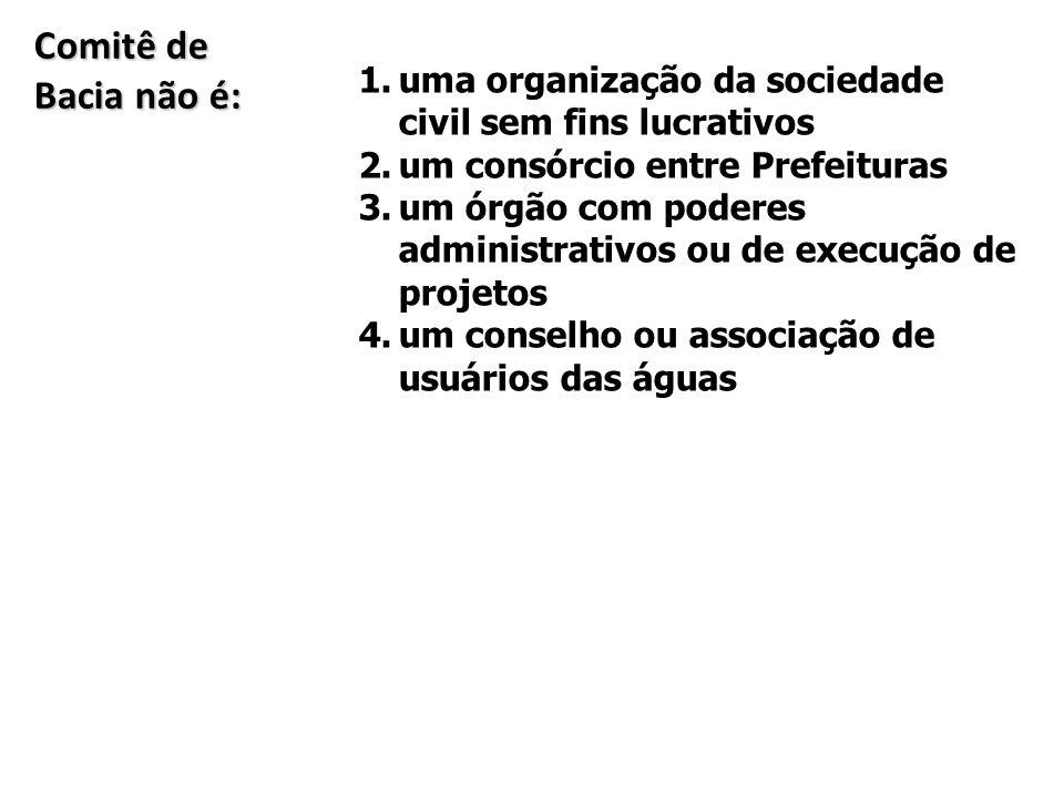 Comitê de Bacia não é: 1.uma organização da sociedade civil sem fins lucrativos 2.um consórcio entre Prefeituras 3.um órgão com poderes administrativo