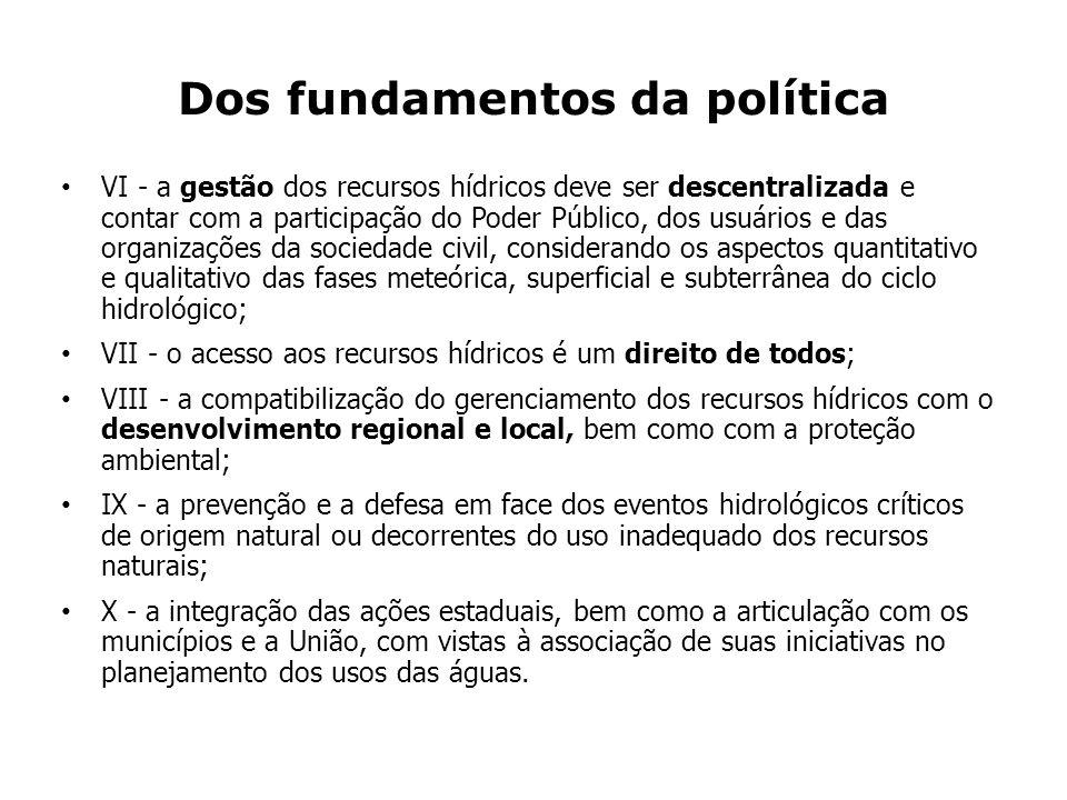 Dos fundamentos da política VI - a gestão dos recursos hídricos deve ser descentralizada e contar com a participação do Poder Público, dos usuários e