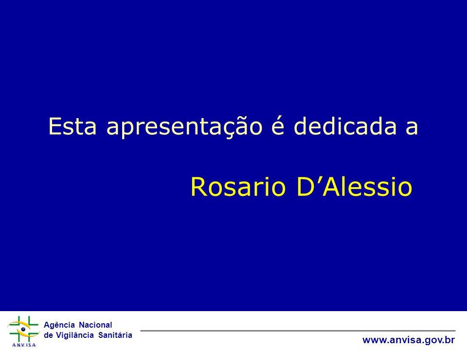 Agência Nacional de Vigilância Sanitária www.anvisa.gov.br Esta apresentação é dedicada a Rosario DAlessio