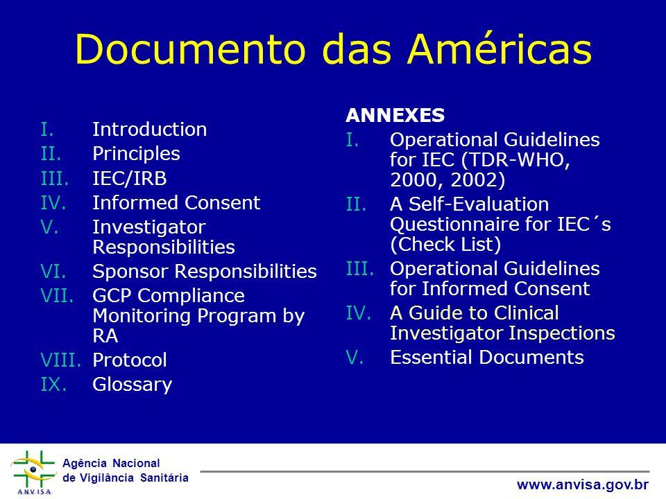 Agência Nacional de Vigilância Sanitária www.anvisa.gov.br Documento das Américas (vs Manual de BPC ICH E6) Dirigido para autoridades reguladoras Maior ênfase na avaliação ética Maior ênfase em inspeções de BPC