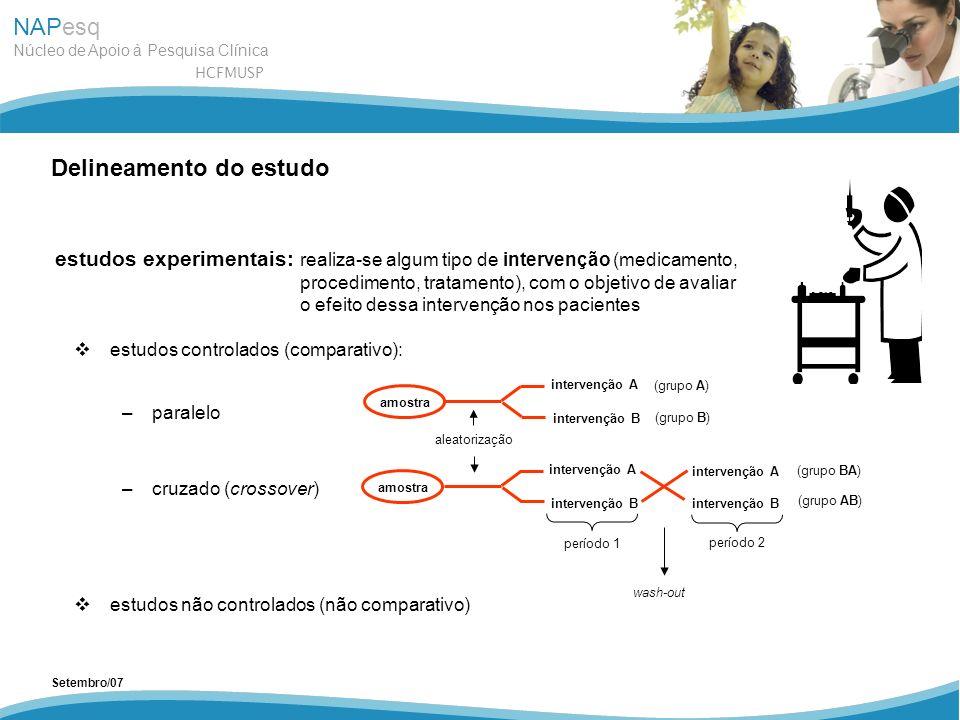 NAPesq Núcleo de Apoio à Pesquisa Clínica HCFMUSP Setembro/07 estudos controlados (comparativo): –paralelo –cruzado (crossover) estudos não controlado