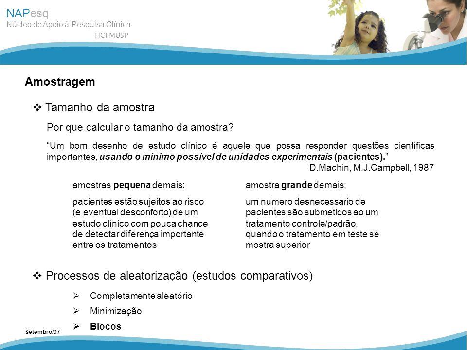 NAPesq Núcleo de Apoio à Pesquisa Clínica HCFMUSP Setembro/07 Amostragem Tamanho da amostra Processos de aleatorização (estudos comparativos) Completa