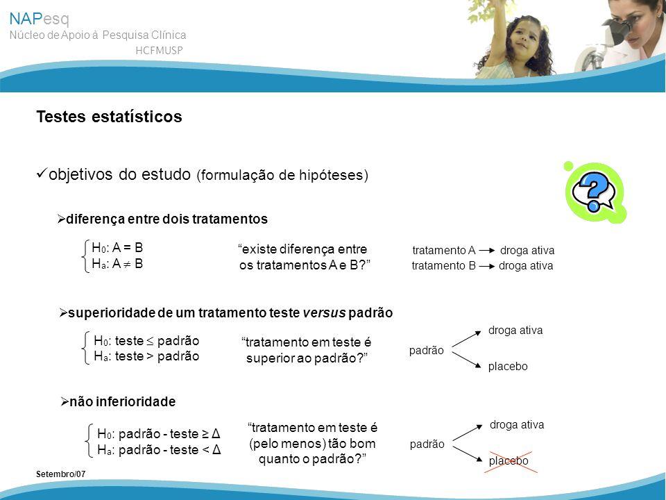 NAPesq Núcleo de Apoio à Pesquisa Clínica HCFMUSP Setembro/07 Testes estatísticos objetivos do estudo (formulação de hipóteses) superioridade de um tr