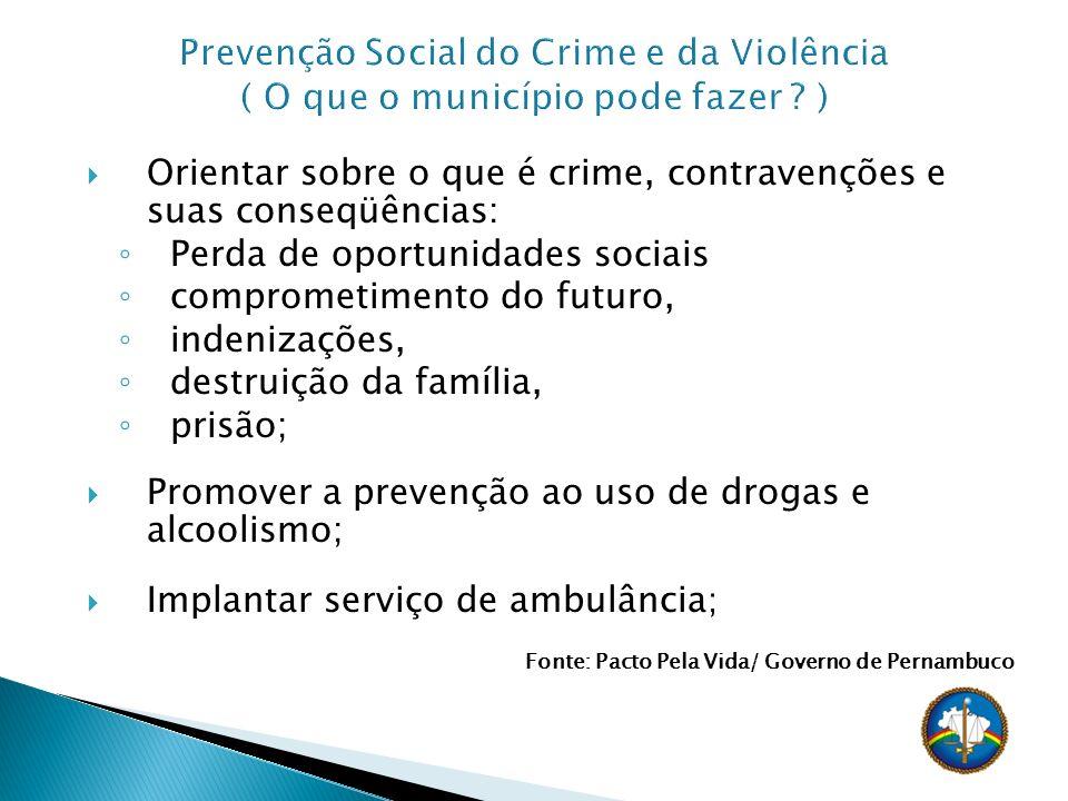 Orientar sobre o que é crime, contravenções e suas conseqüências: Perda de oportunidades sociais comprometimento do futuro, indenizações, destruição d