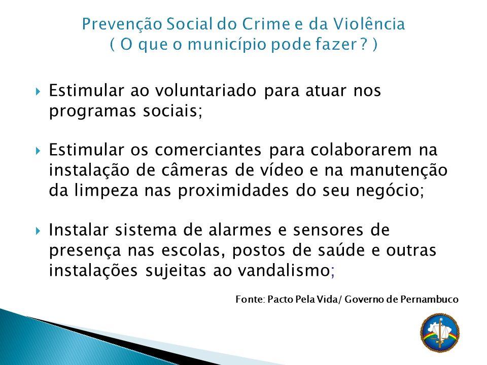 Estimular ao voluntariado para atuar nos programas sociais; Estimular os comerciantes para colaborarem na instalação de câmeras de vídeo e na manutenç