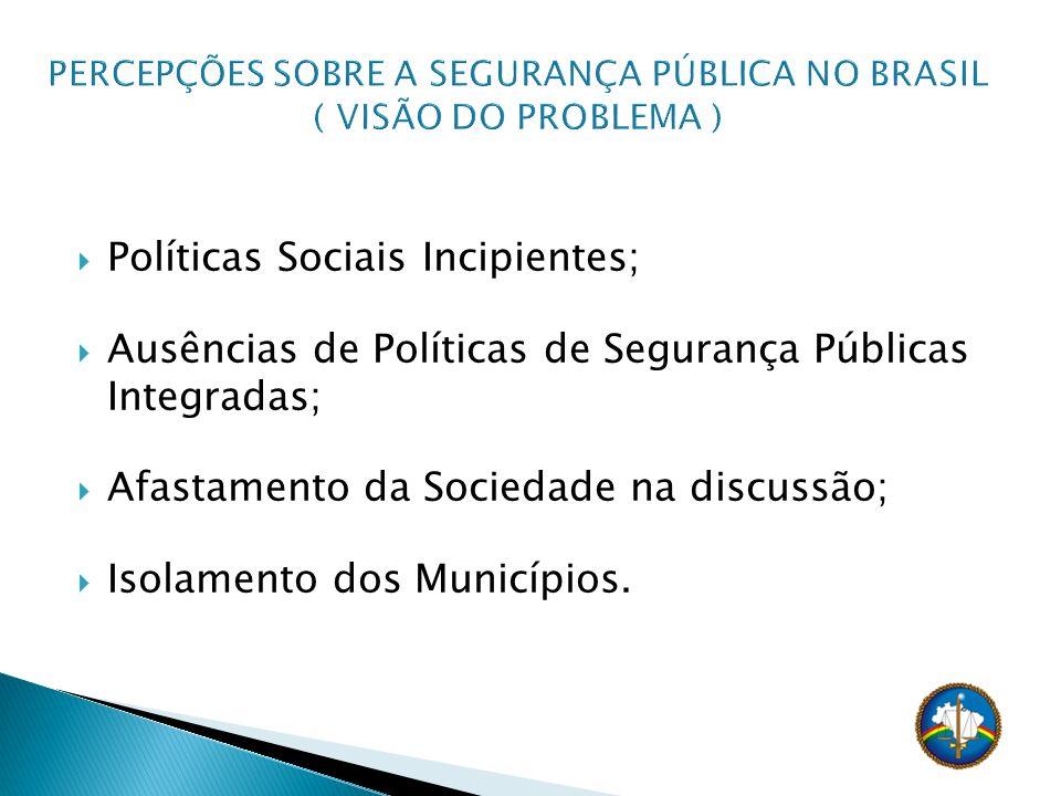 Políticas Sociais Incipientes; Ausências de Políticas de Segurança Públicas Integradas; Afastamento da Sociedade na discussão; Isolamento dos Municípi