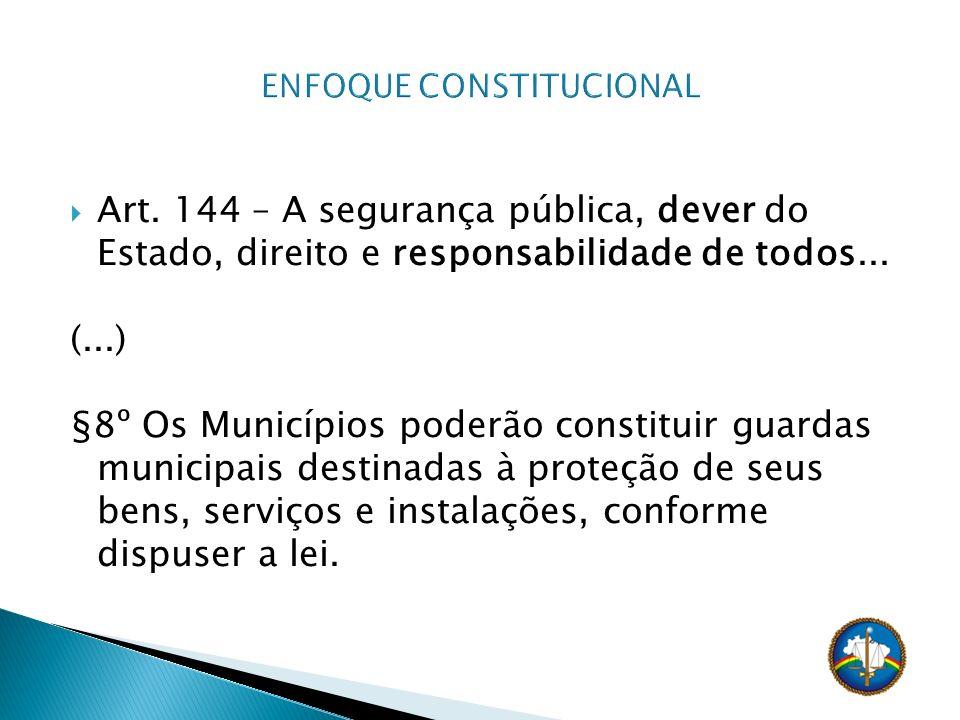 Art. 144 – A segurança pública, dever do Estado, direito e responsabilidade de todos... (...) §8º Os Municípios poderão constituir guardas municipais