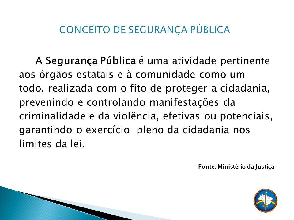 A Segurança Pública é uma atividade pertinente aos órgãos estatais e à comunidade como um todo, realizada com o fito de proteger a cidadania, prevenin
