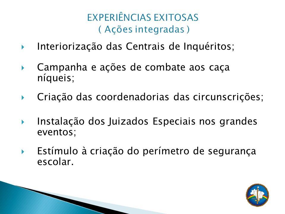 Interiorização das Centrais de Inquéritos; Campanha e ações de combate aos caça níqueis; Criação das coordenadorias das circunscrições; Instalação dos