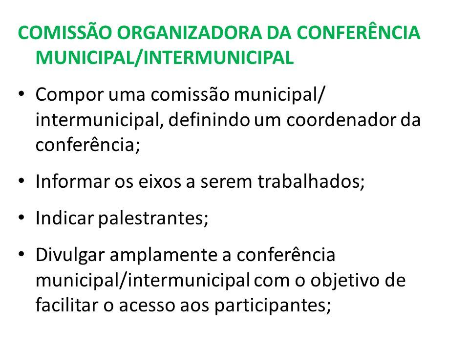 COMISSÃO ORGANIZADORA DA CONFERÊNCIA MUNICIPAL/INTERMUNICIPAL Compor uma comissão municipal/ intermunicipal, definindo um coordenador da conferência; Informar os eixos a serem trabalhados; Indicar palestrantes; Divulgar amplamente a conferência municipal/intermunicipal com o objetivo de facilitar o acesso aos participantes;