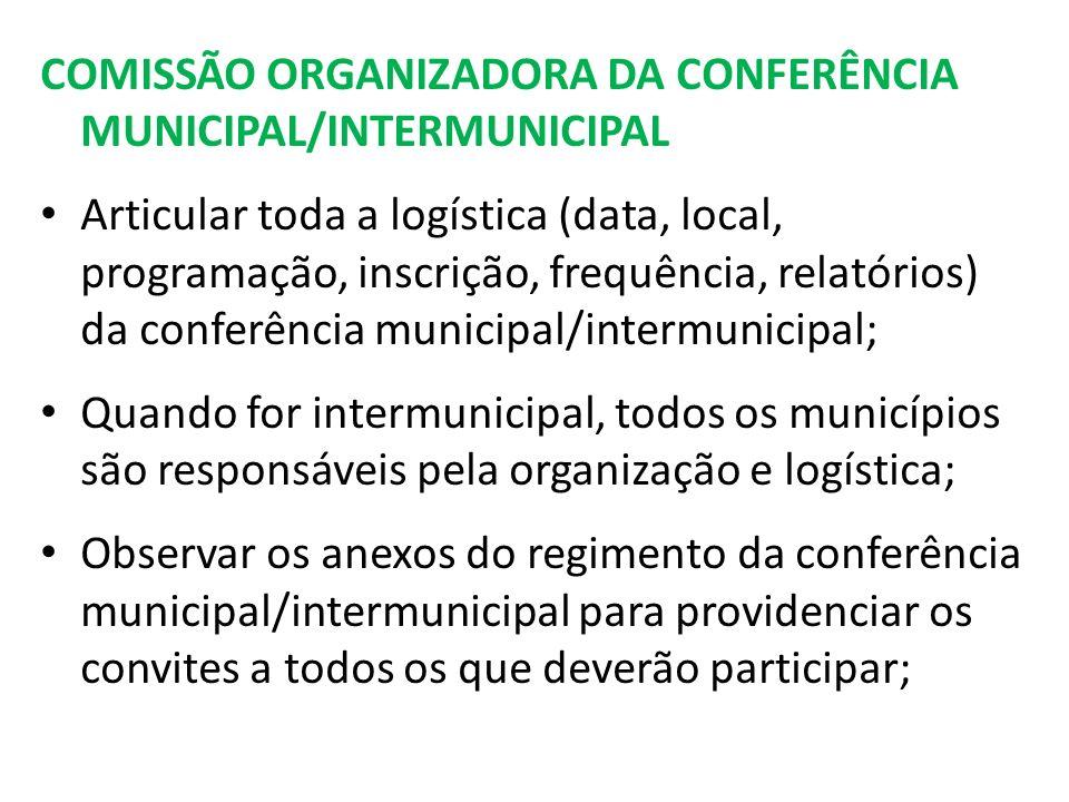COMISSÃO ORGANIZADORA DA CONFERÊNCIA MUNICIPAL/INTERMUNICIPAL Articular toda a logística (data, local, programação, inscrição, frequência, relatórios) da conferência municipal/intermunicipal; Quando for intermunicipal, todos os municípios são responsáveis pela organização e logística; Observar os anexos do regimento da conferência municipal/intermunicipal para providenciar os convites a todos os que deverão participar;