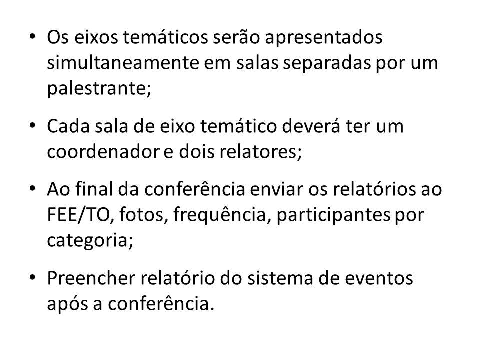 Os eixos temáticos serão apresentados simultaneamente em salas separadas por um palestrante; Cada sala de eixo temático deverá ter um coordenador e dois relatores; Ao final da conferência enviar os relatórios ao FEE/TO, fotos, frequência, participantes por categoria; Preencher relatório do sistema de eventos após a conferência.