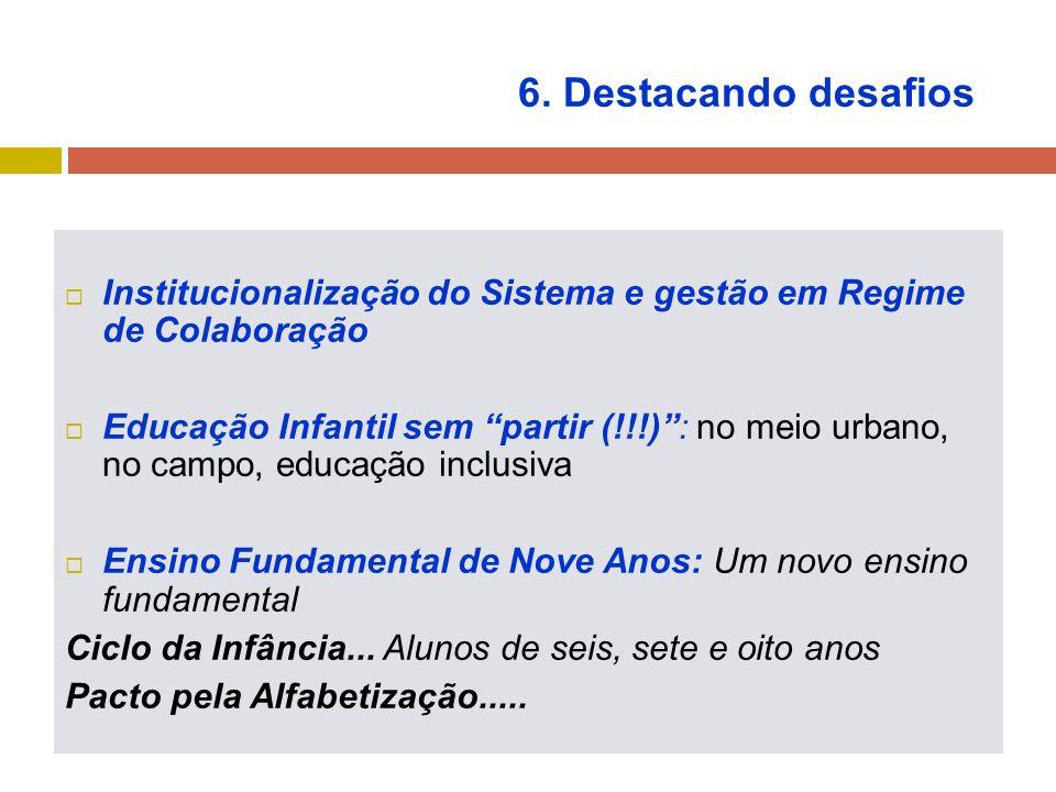 6. Destacando desafios Institucionalização do Sistema e gestão em Regime de Colaboração Educação Infantil sem partir (!!!): no meio urbano, no campo,