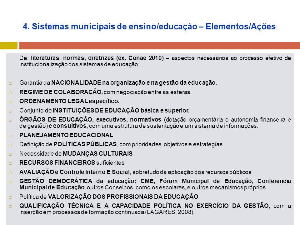 4. Sistemas municipais de ensino/educação – Elementos/Ações De: literaturas, normas, diretrizes (ex. Conae 2010) – aspectos necessários ao processo ef