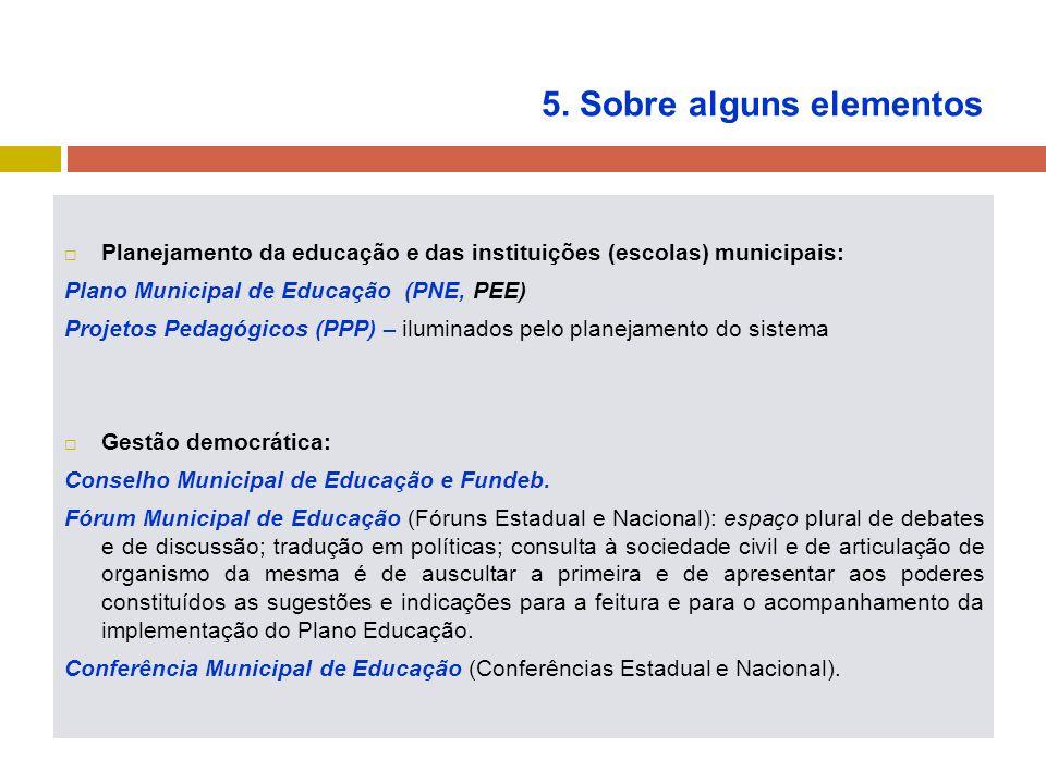 5. Sobre alguns elementos Planejamento da educação e das instituições (escolas) municipais: Plano Municipal de Educação (PNE, PEE) Projetos Pedagógico