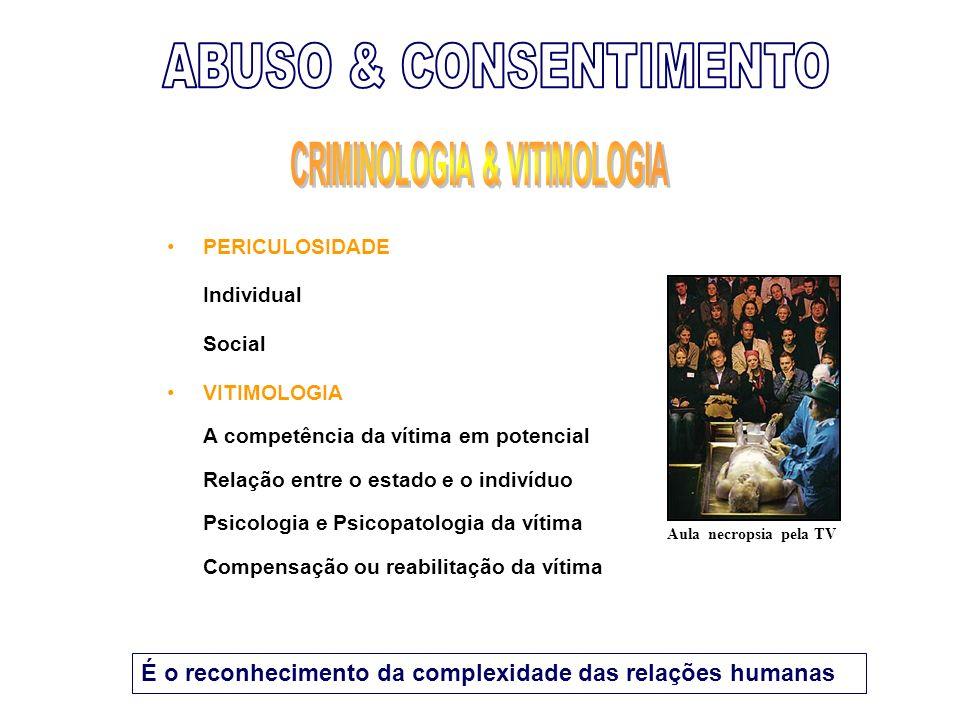 PERICULOSIDADE Individual Social VITIMOLOGIA A competência da vítima em potencial Relação entre o estado e o indivíduo Psicologia e Psicopatologia da