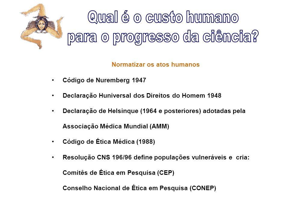 Normatizar os atos humanos Código de Nuremberg 1947 Declaração Huniversal dos Direitos do Homem 1948 Declaração de Helsinque (1964 e posteriores) adot