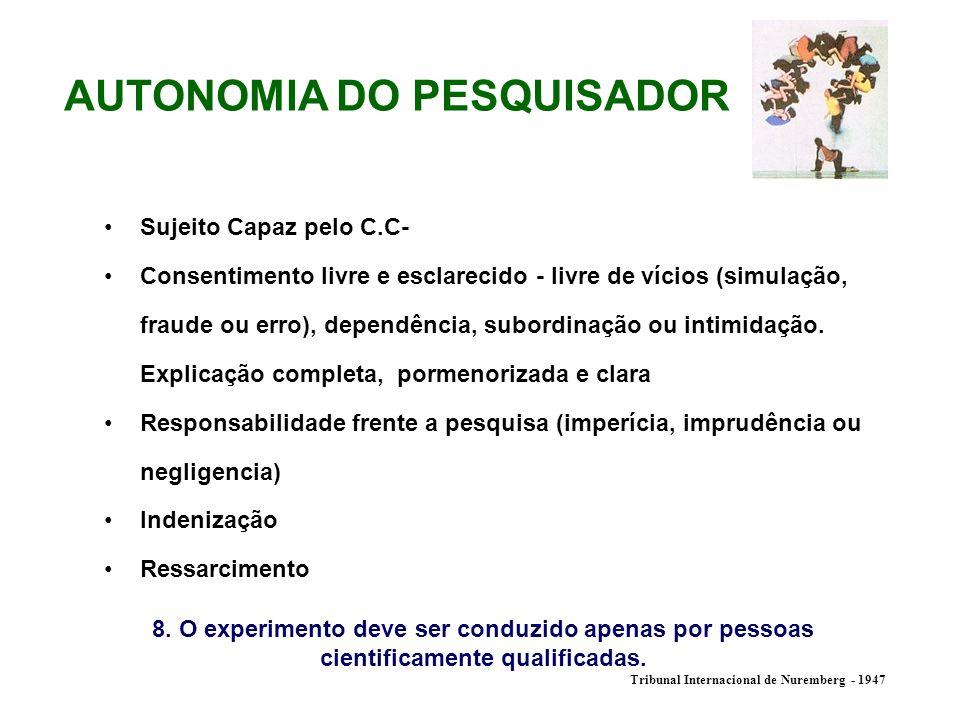 AUTONOMIA DO PESQUISADOR Sujeito Capaz pelo C.C- Consentimento livre e esclarecido - livre de vícios (simulação, fraude ou erro), dependência, subordi
