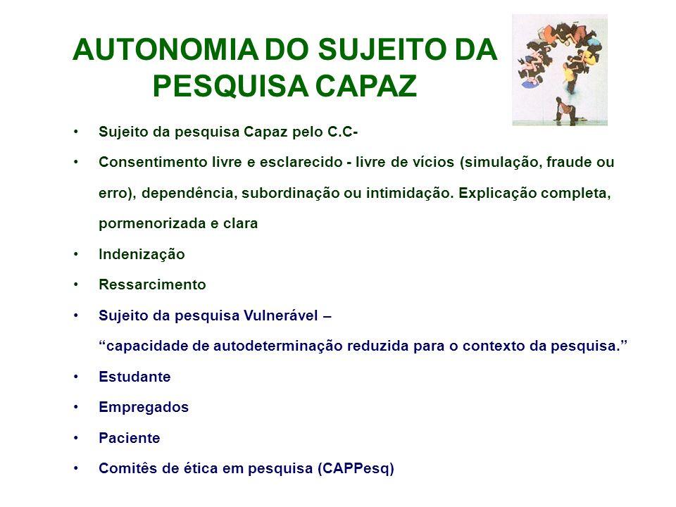 AUTONOMIA DO SUJEITO DA PESQUISA CAPAZ Sujeito da pesquisa Capaz pelo C.C- Consentimento livre e esclarecido - livre de vícios (simulação, fraude ou e