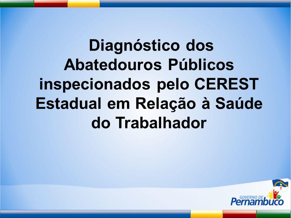 Diagnóstico dos Abatedouros Públicos inspecionados pelo CEREST Estadual em Relação à Saúde do Trabalhador