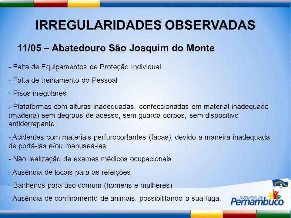 IRREGULARIDADES OBSERVADAS 11/05 – Abatedouro São Joaquim do Monte - Falta de Equipamentos de Proteção Individual - Falta de treinamento do Pessoal -