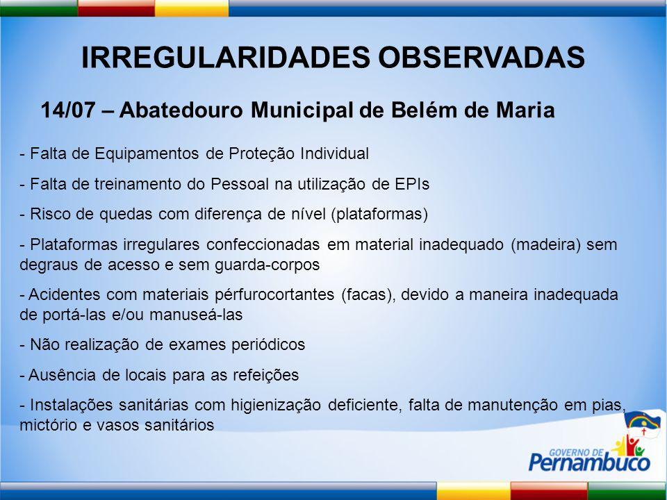 IRREGULARIDADES OBSERVADAS 14/07 – Abatedouro Municipal de Belém de Maria - Falta de Equipamentos de Proteção Individual - Falta de treinamento do Pes