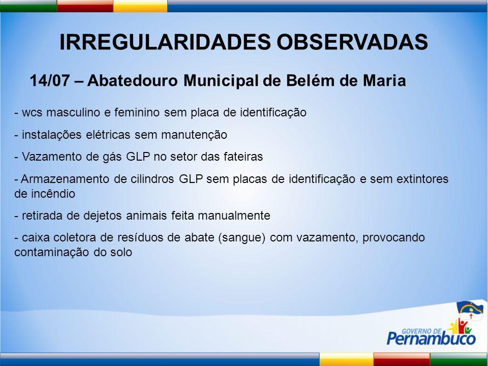 IRREGULARIDADES OBSERVADAS 14/07 – Abatedouro Municipal de Belém de Maria - wcs masculino e feminino sem placa de identificação - instalações elétrica