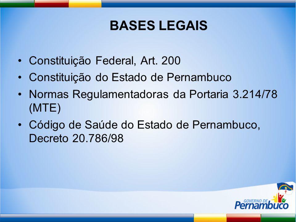 BASES LEGAIS Constituição Federal, Art. 200 Constituição do Estado de Pernambuco Normas Regulamentadoras da Portaria 3.214/78 (MTE) Código de Saúde do