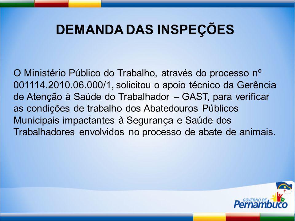 DEMANDA DAS INSPEÇÕES O Ministério Público do Trabalho, através do processo nº 001114.2010.06.000/1, solicitou o apoio técnico da Gerência de Atenção