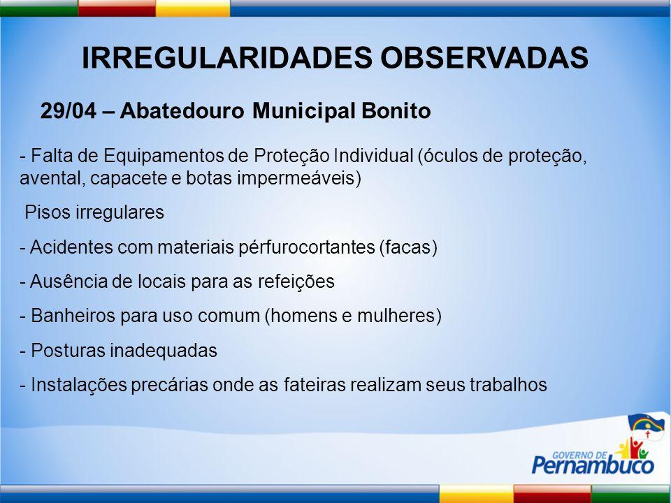 IRREGULARIDADES OBSERVADAS 29/04 – Abatedouro Municipal Bonito - Falta de Equipamentos de Proteção Individual (óculos de proteção, avental, capacete e