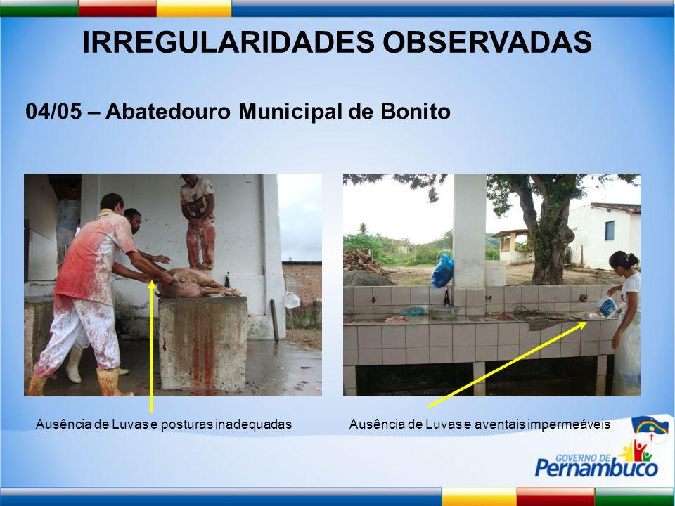 IRREGULARIDADES OBSERVADAS 04/05 – Abatedouro Municipal de Bonito Ausência de Luvas e posturas inadequadasAusência de Luvas e aventais impermeáveis