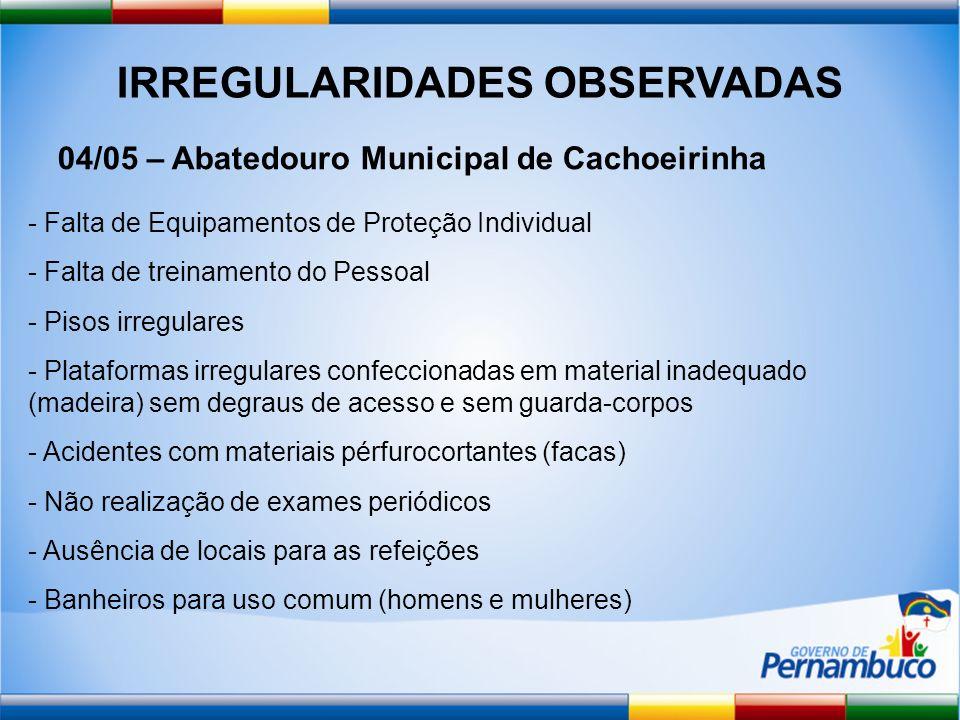 IRREGULARIDADES OBSERVADAS 04/05 – Abatedouro Municipal de Cachoeirinha - Falta de Equipamentos de Proteção Individual - Falta de treinamento do Pesso