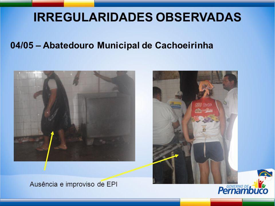 IRREGULARIDADES OBSERVADAS 04/05 – Abatedouro Municipal de Cachoeirinha Ausência e improviso de EPI