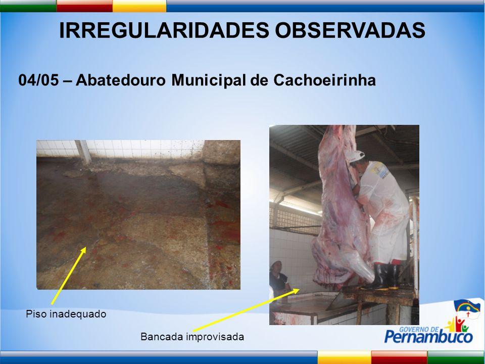 IRREGULARIDADES OBSERVADAS 04/05 – Abatedouro Municipal de Cachoeirinha Piso inadequado Bancada improvisada
