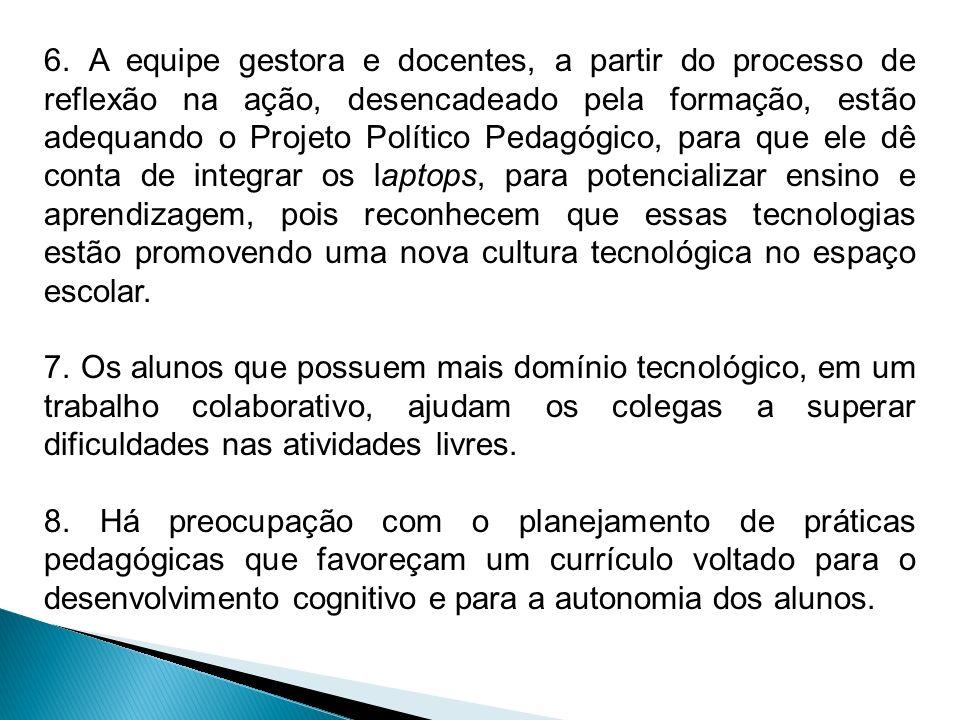 6. A equipe gestora e docentes, a partir do processo de reflexão na ação, desencadeado pela formação, estão adequando o Projeto Político Pedagógico, p