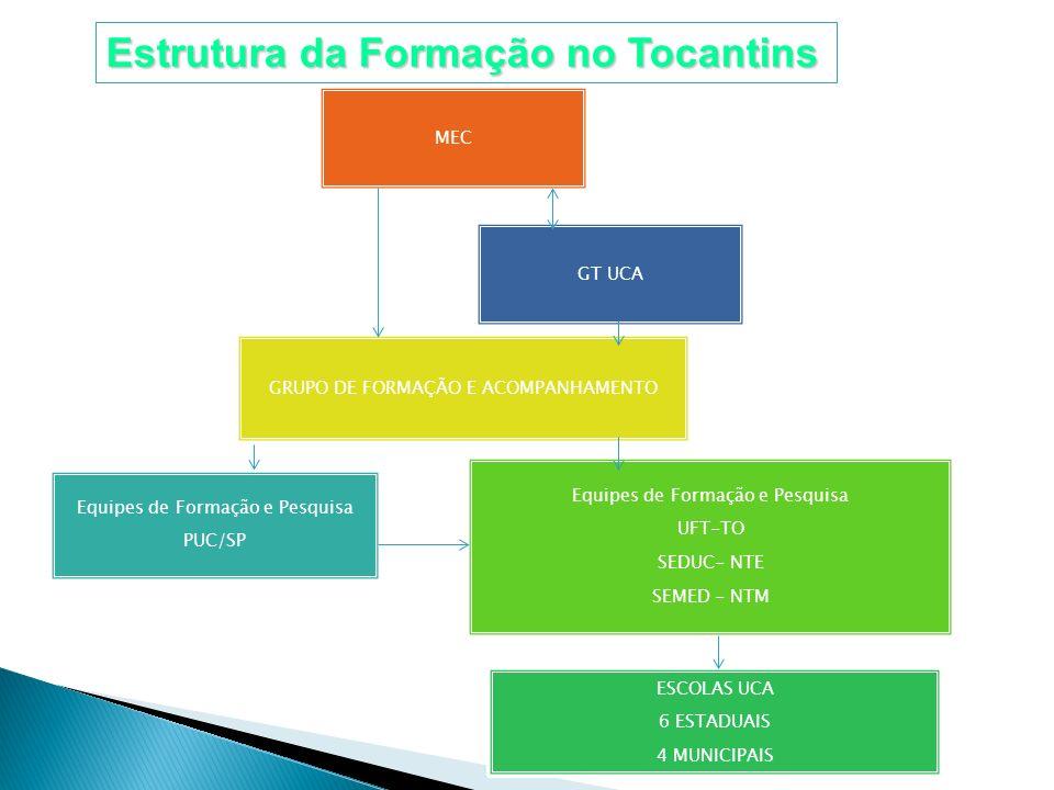 Estrutura da Formação no Tocantins SE/ MEC GRUPO DE FORMAÇÃO E ACOMPANHAMENTO Equipes de Formação e Pesquisa UFT-TO SEDUC- NTE SEMED - NTM ESCOLAS UCA