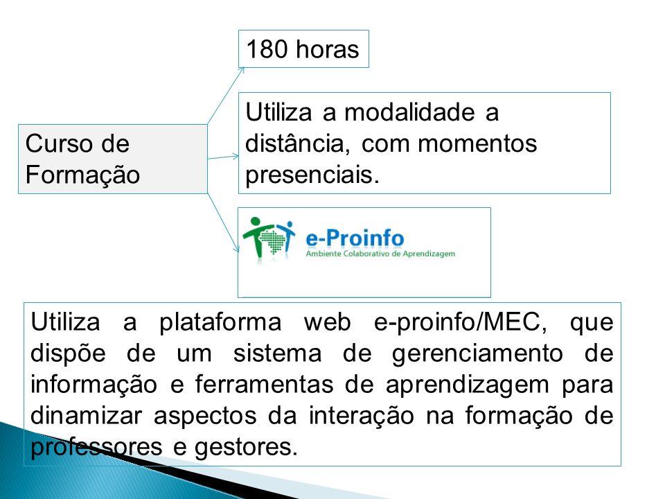 Utiliza a plataforma web e-proinfo/MEC, que dispõe de um sistema de gerenciamento de informação e ferramentas de aprendizagem para dinamizar aspectos