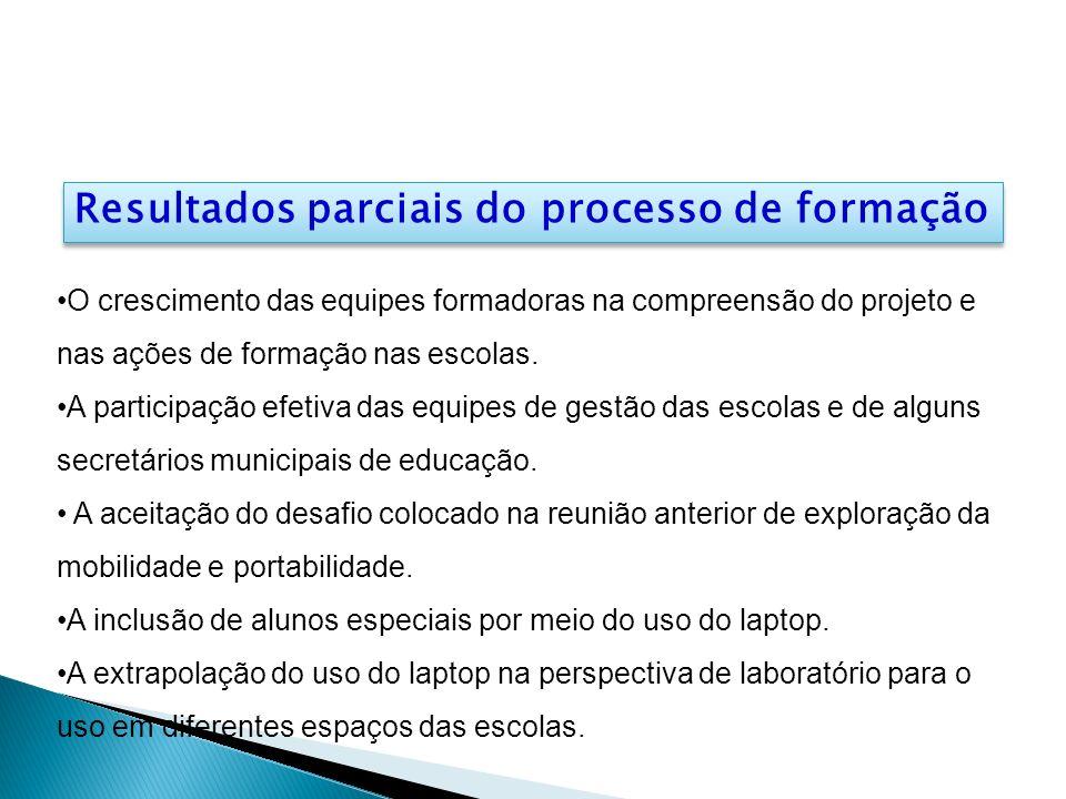 Resultados parciais do processo de formação O crescimento das equipes formadoras na compreensão do projeto e nas ações de formação nas escolas. A part