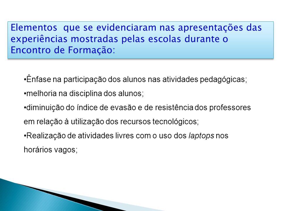 Elementos que se evidenciaram nas apresentações das experiências mostradas pelas escolas durante o Encontro de Formação: Ênfase na participação dos al