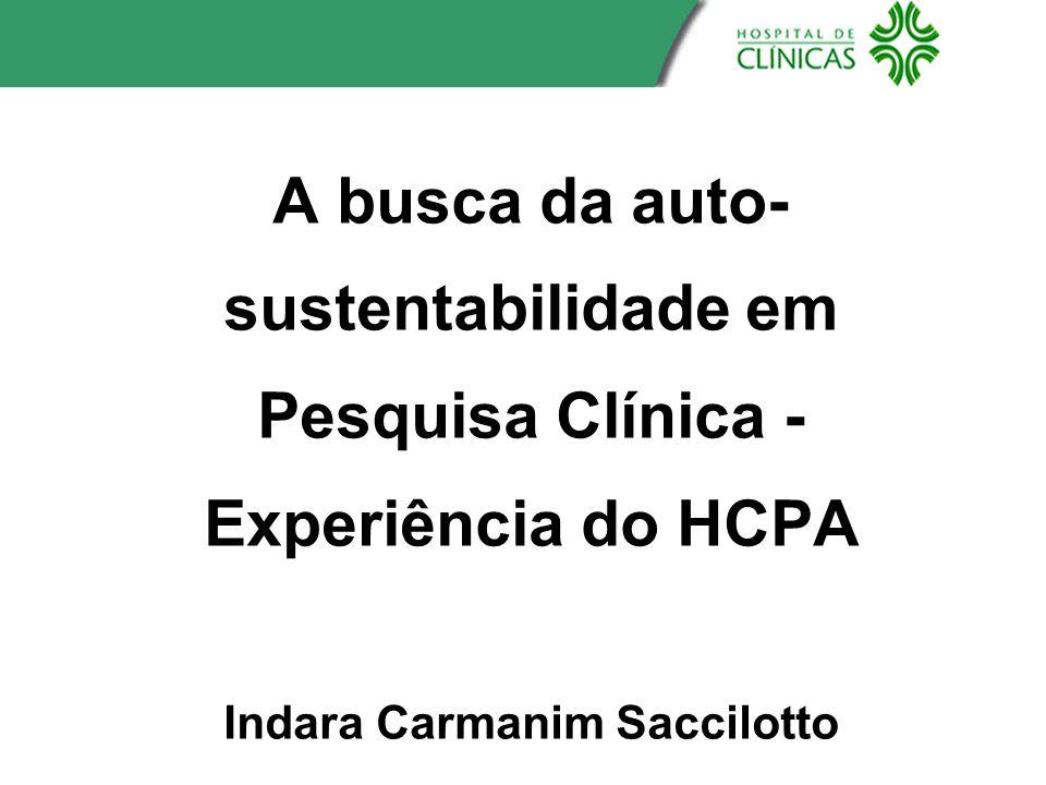 A busca da auto- sustentabilidade em Pesquisa Clínica - Experiência do HCPA Indara Carmanim Saccilotto