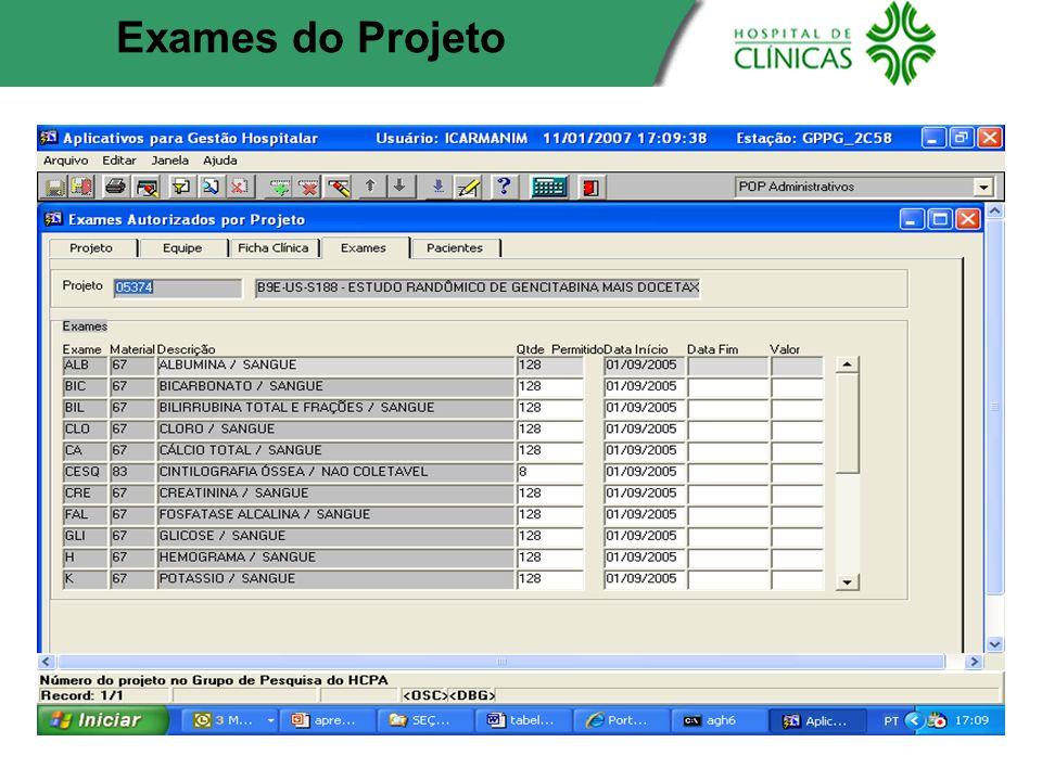 Exames do Projeto