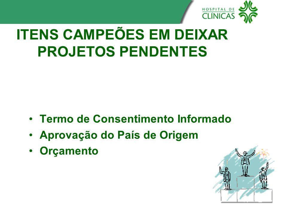 ITENS CAMPEÕES EM DEIXAR PROJETOS PENDENTES Termo de Consentimento Informado Aprovação do País de Origem Orçamento