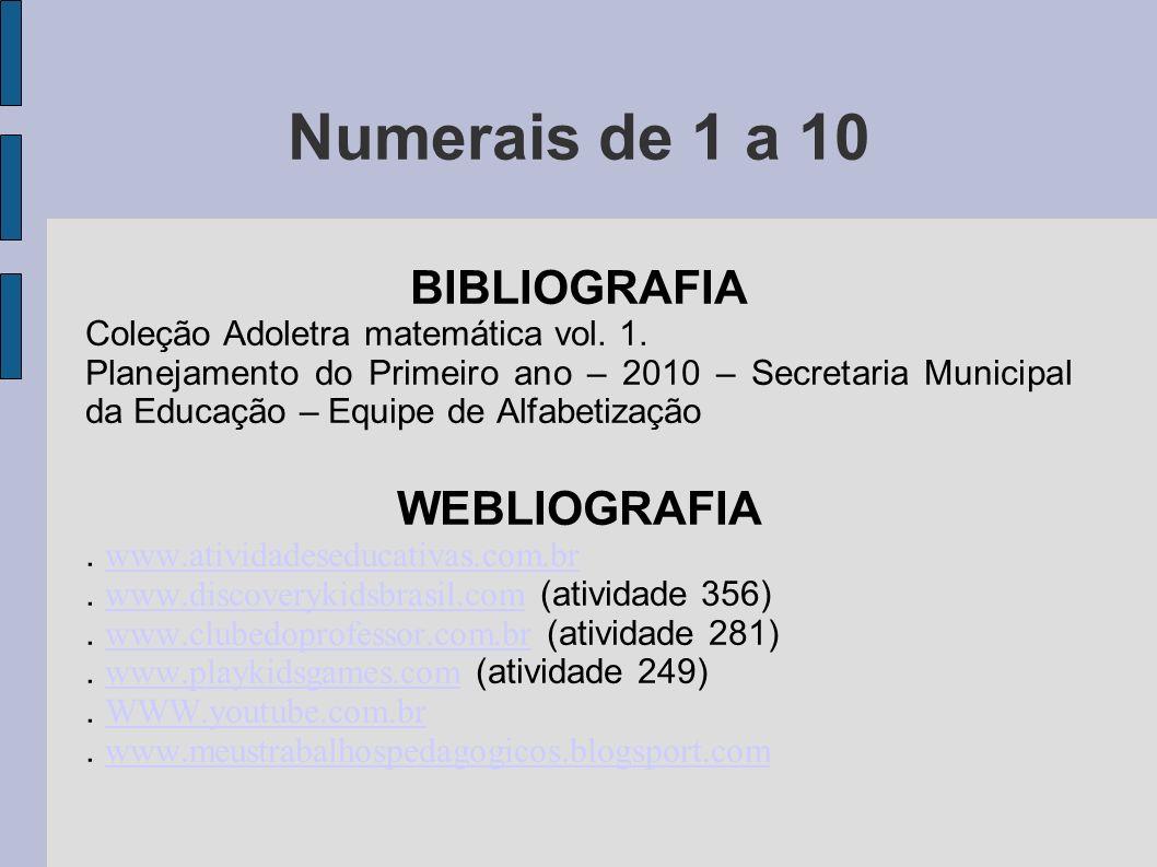BIBLIOGRAFIA Coleção Adoletra matemática vol. 1. Planejamento do Primeiro ano – 2010 – Secretaria Municipal da Educação – Equipe de Alfabetização WEBL