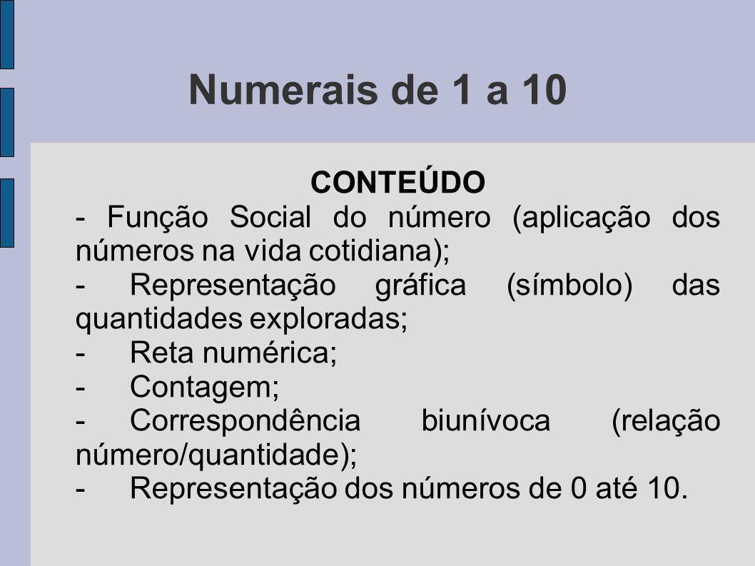 Numerais de 1 a 10 CONTEÚDO - Função Social do número (aplicação dos números na vida cotidiana); -Representação gráfica (símbolo) das quantidades expl