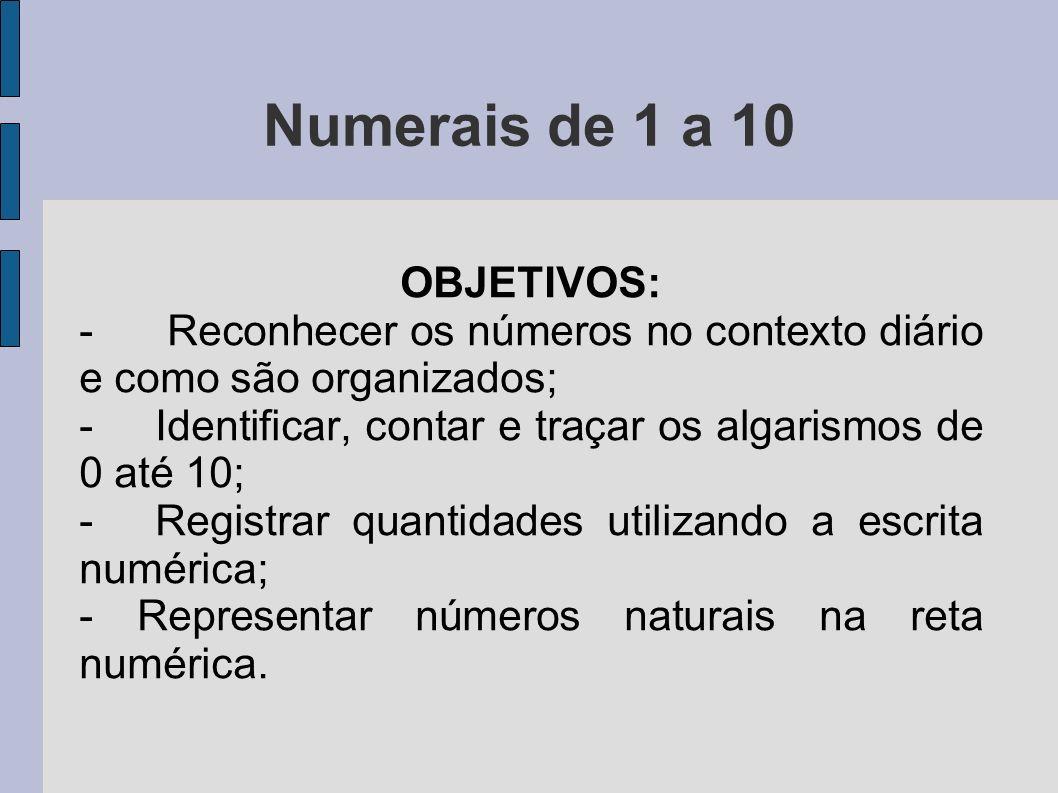 Numerais de 1 a 10 OBJETIVOS: - Reconhecer os números no contexto diário e como são organizados; - Identificar, contar e traçar os algarismos de 0 até