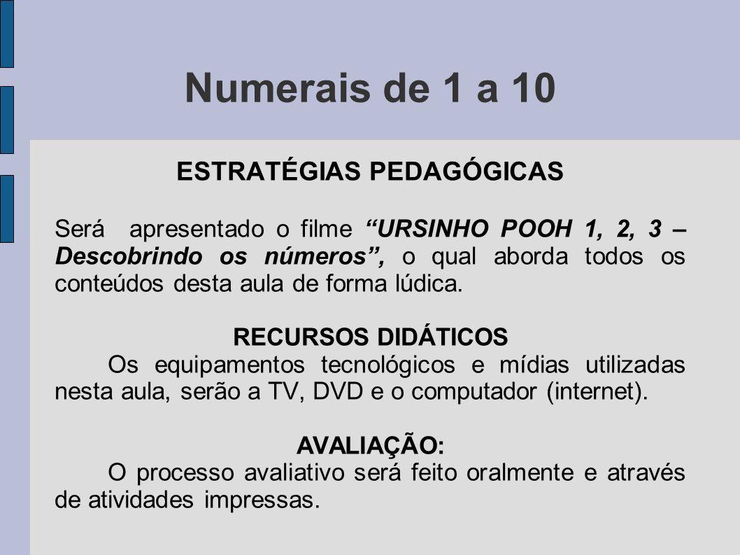 Numerais de 1 a 10 ESTRATÉGIAS PEDAGÓGICAS Será apresentado o filme URSINHO POOH 1, 2, 3 – Descobrindo os números, o qual aborda todos os conteúdos de