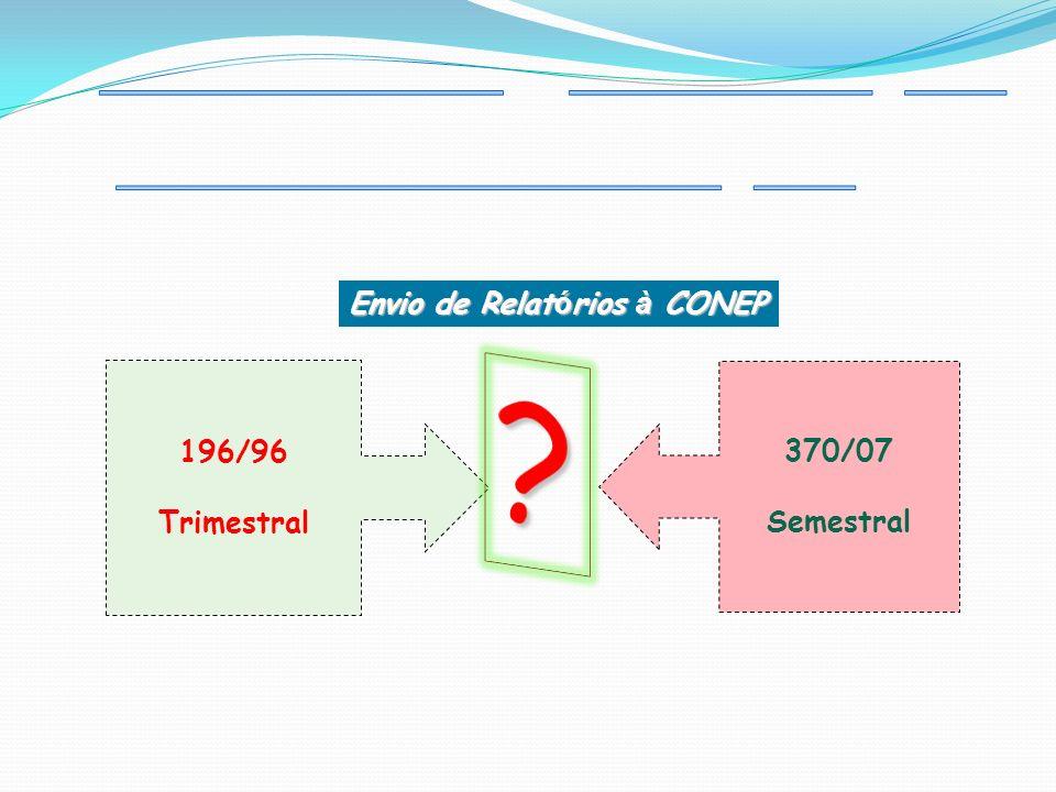 Envio de Relat ó rios à CONEP 370/07 Semestral 196/96 Trimestral